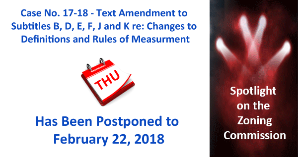 ZC Case 17-18 Postponed to 2/22/18