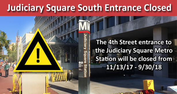 Judiciary Metro Station 4th Street Station Closed