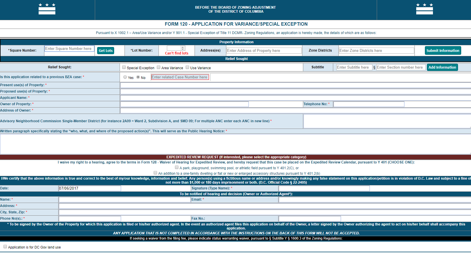 Variancespecial exception dcoz instructions for form 120 application for variancespecial exception 1betcityfo Images