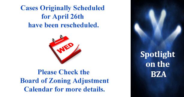 BZA Cases Rescheduled